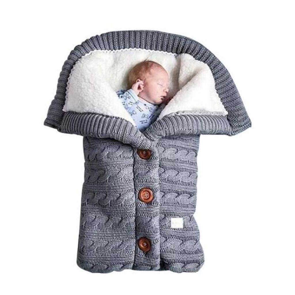 Baby Stricken Schlafsack Einschlagdecke Wickeldecke Decke für Kinderwagen Winter