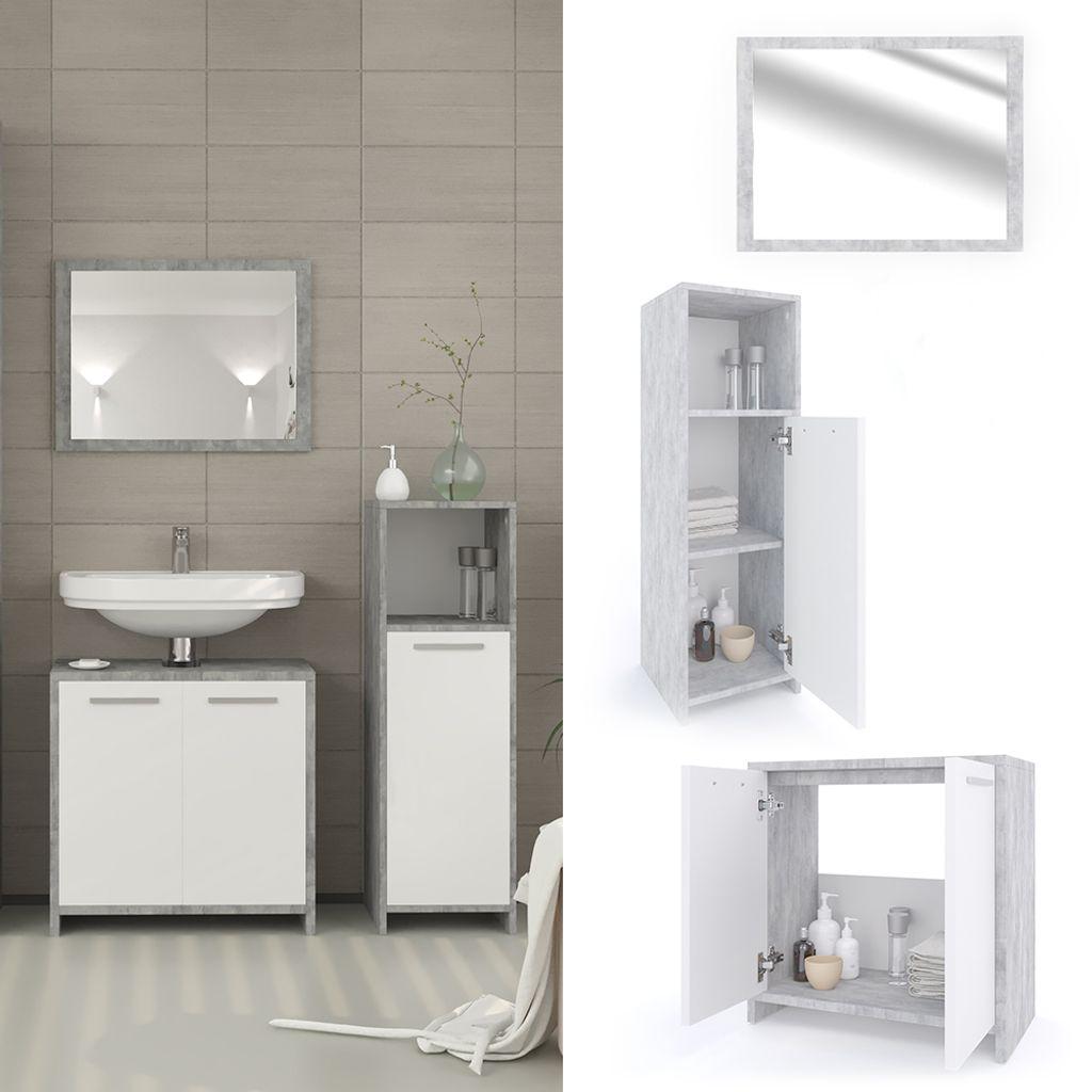 Vicco Badmöbel Set KIKO Grau Beton   Badezimmer Spiegel Kommode  Unterschrank Bad Beistellschrank