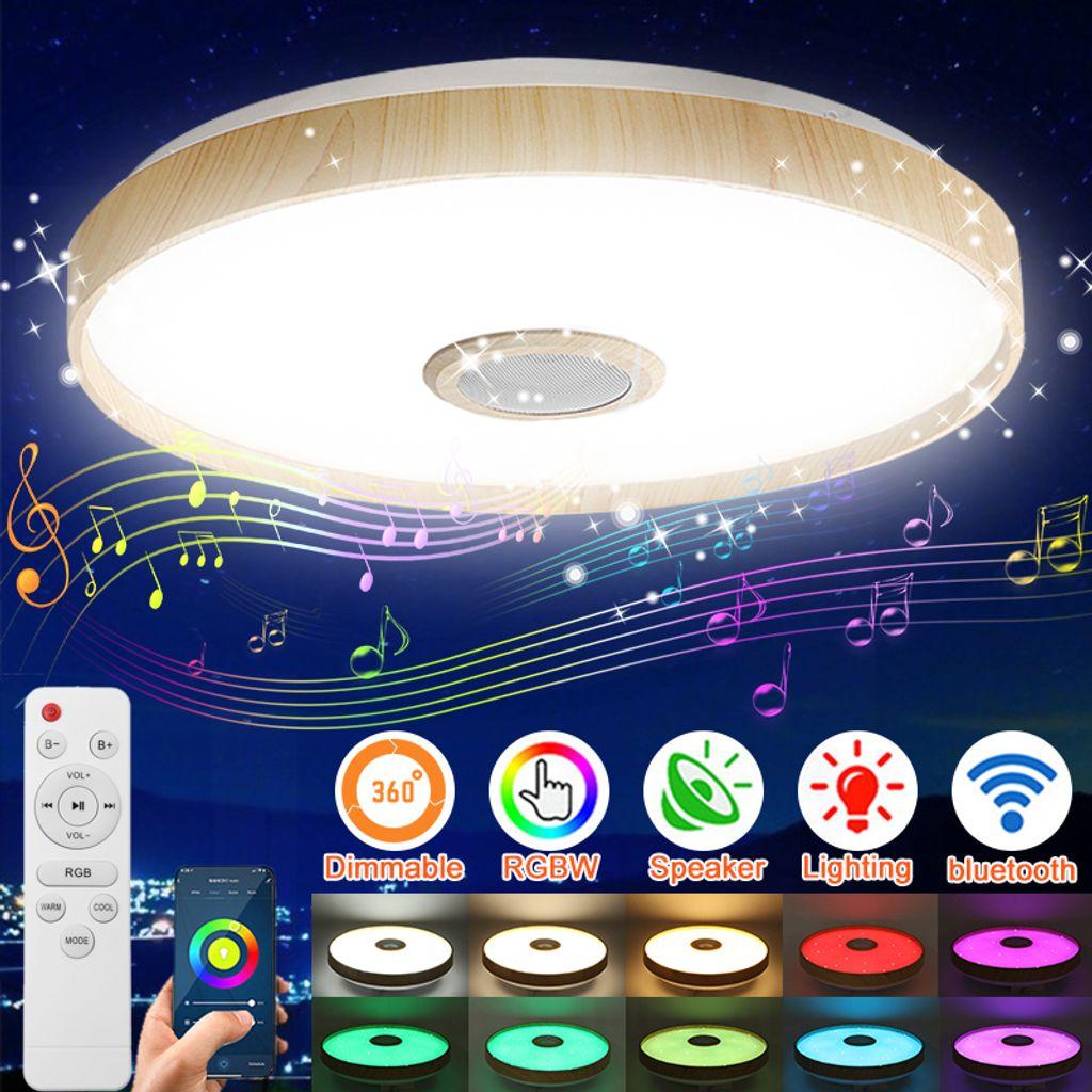 Dimmbare WIFI LED RGB Deckenleuchte mit bluetooth Lautsprecher, 20 W APP +  Fernbedienung Funktioniert mit Alexa / Home