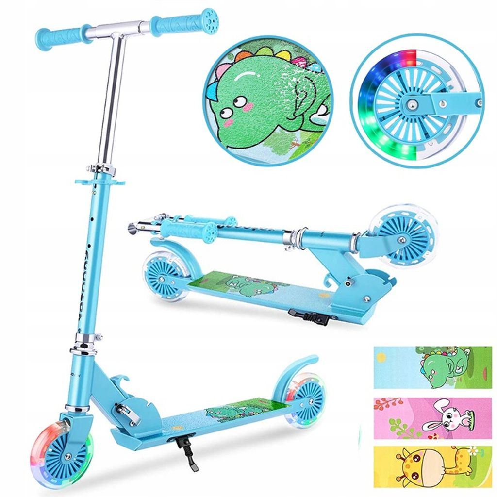 LED Kinder Scooter Kinderroller Cityroller Tretroller Klappbar mit 3 Räder Gelb