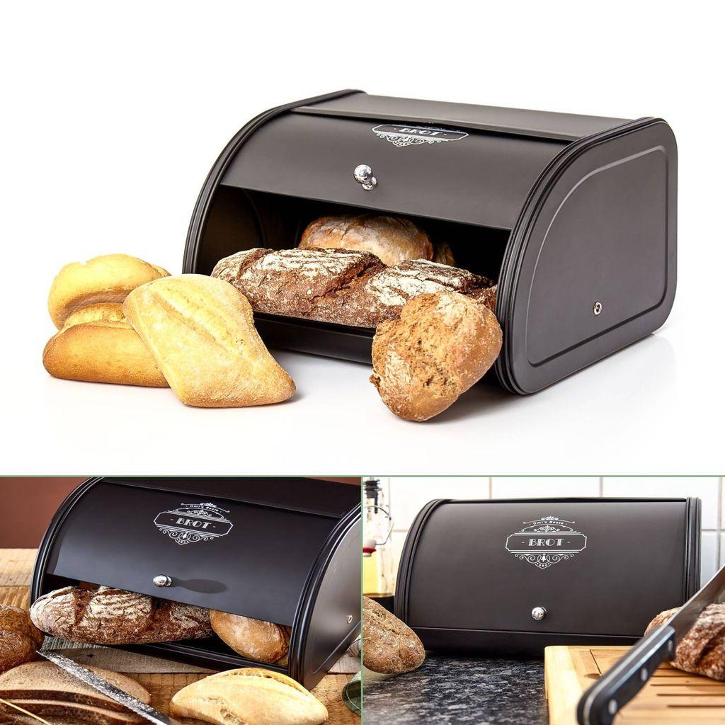 Brotkasten Brotbehälter Brotdose Brotbox Brottopf Brot Brötchen Box Schwarz NEU