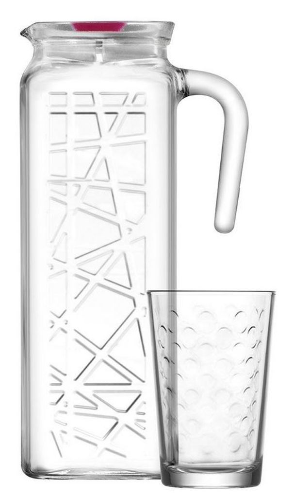 7 tlg Glas Karaffe Set Krug Wasserkrug Wasserkaraffe Wassergläser Trinkgläser
