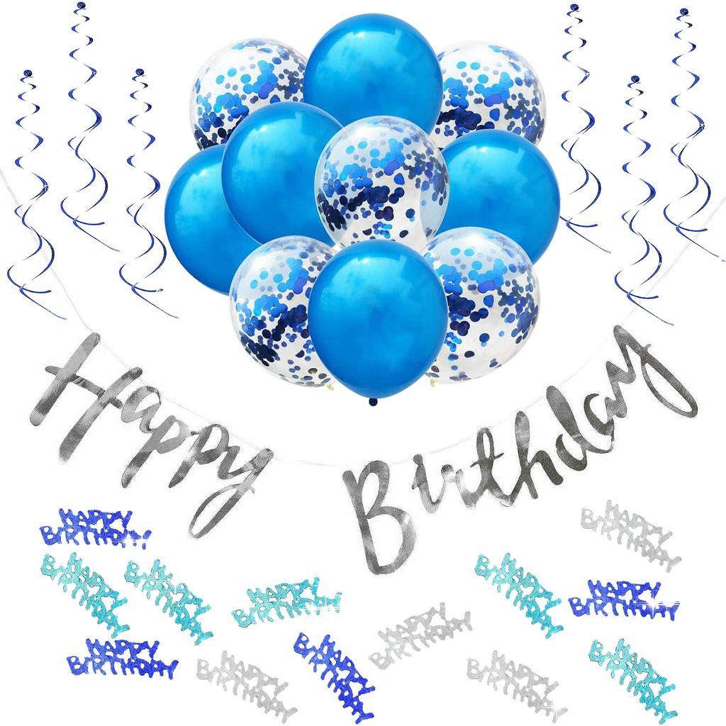 16+ Oblique Unique Happy Birthday Geburtstag Party Deko Set   Girlande Konfetti  Ballons uvm. blau Stock
