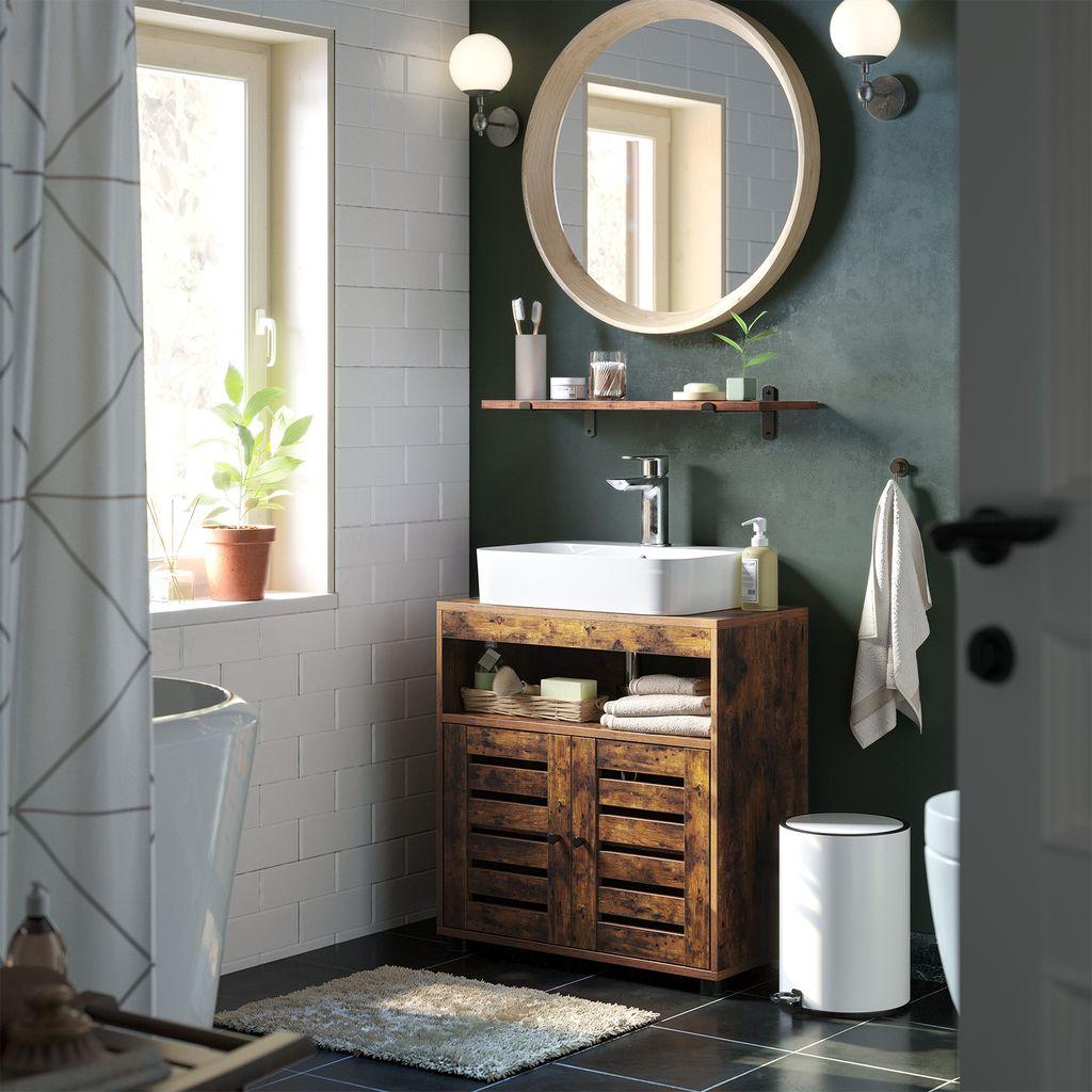 mit Griffen 60 x 30 x 60 cm skandinavischer Stil mattwei/ß BBC05WT mit 2 Lamellent/üren Badezimmerschrank VASAGLE Waschbeckenunterschrank Aufbewahrungsschrank verstellbare Regalebene