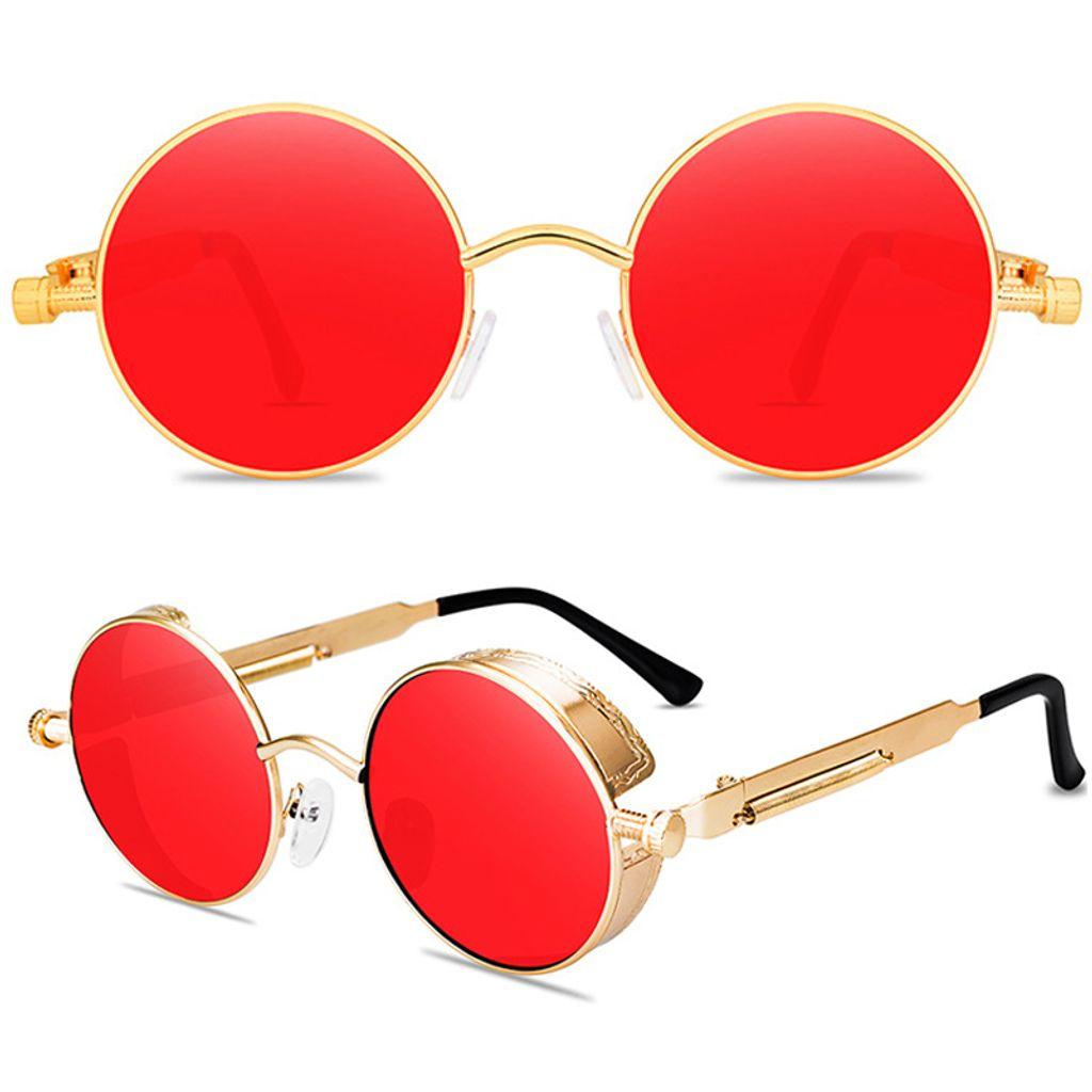 Polarisierte Licht Steampunk Metall Sonnenbrille Herren Damen Runde Brille UV400