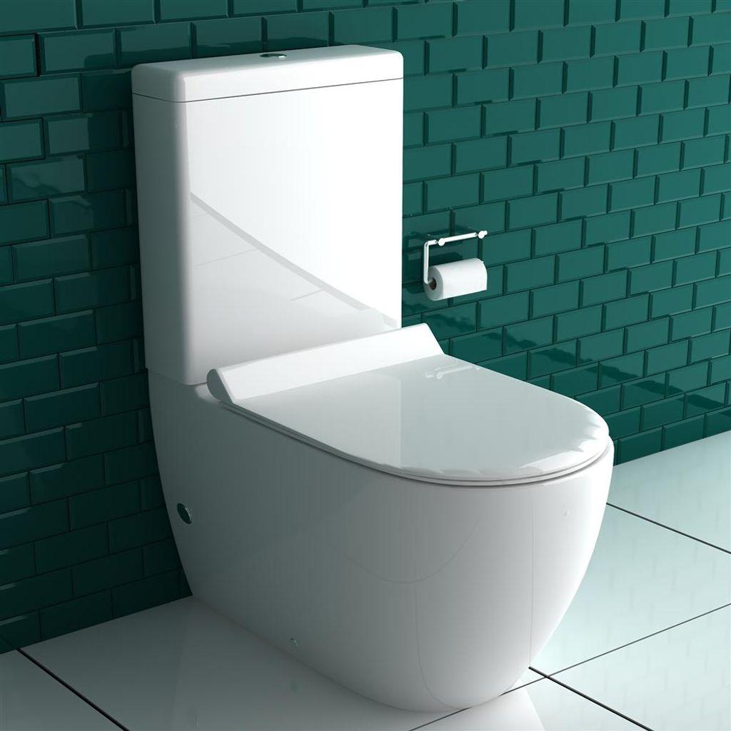Alpenberger Stand Dusch WC + Spülkasten + GEBERIT Spülgarnitür +  Abnehmbarer WC Sitz mit Absenkautomatik   Komplett Set   Integrierter  Taharet Bidet ...