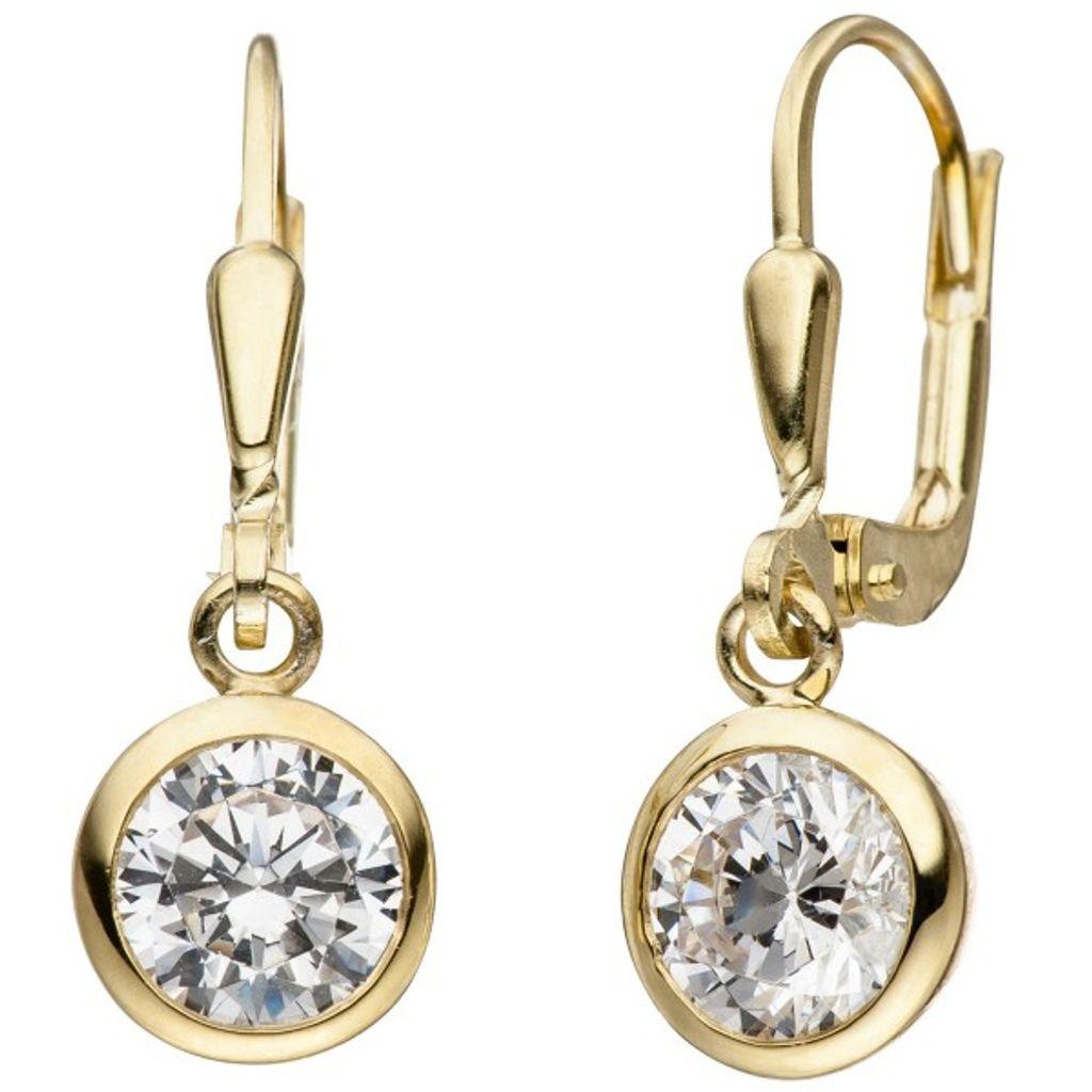 JOBO Creolen 925 Sterling Silber bicolor vergoldet 22 Zirkonia Ohrringe