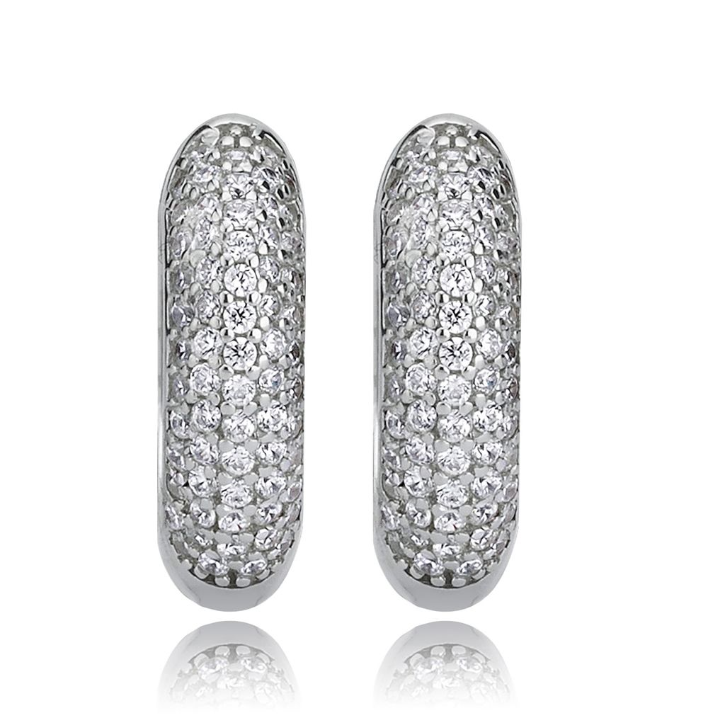 SilberDream Ohrringe Zirkonia weiß 925 Silber 5-reihig Damen Creolen SDO4351W