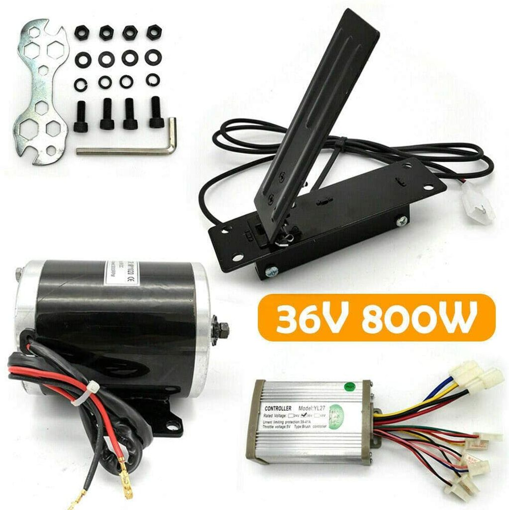 800W 36V Elektrischer E-Bike Umbausatz Bürstenmotor Brush Motor mit Pedal