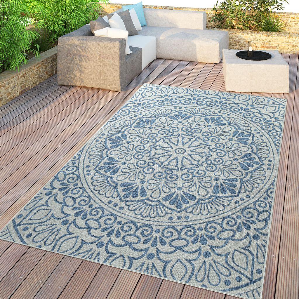 In  & Outdoor Teppich, Für Balkon Und Terrasse Mit Orient Design, In Blau,  Größe8x8 cm