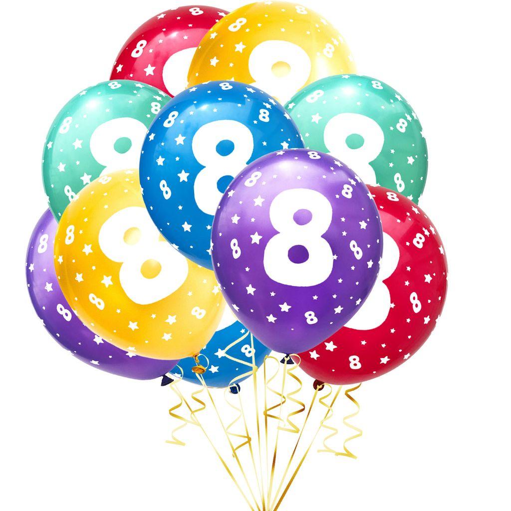 Oblique Unique Luftballon Set Zahl 8 für 8. Geburtstag Kindergeburtstag  Party 8 Deko Ballons Geburtstagsdeko bunt