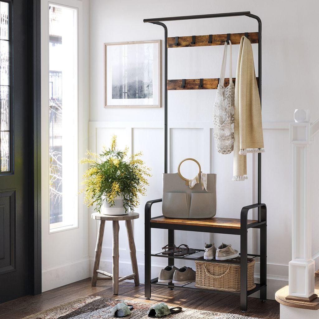 VASAGLE Garderobenständer mit 20 Ablagen 1820 x 20 x 2020,20 cm Kleiderständer  mit 20 Haken und Schuhregal Vintage HSR20B