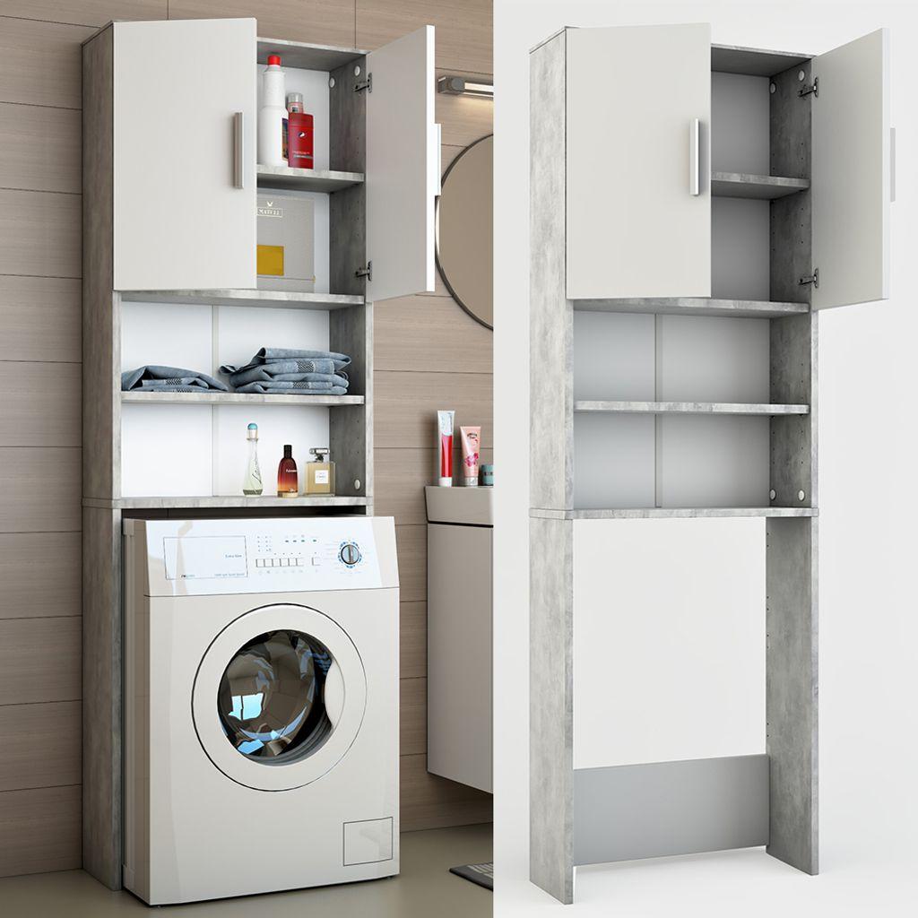 ICCO Waschmaschinenschrank Grau Beton 20 x 20 cm   Badregal Hochschrank  Waschmaschine Bad Schrank Badezimmerschrank Überbau