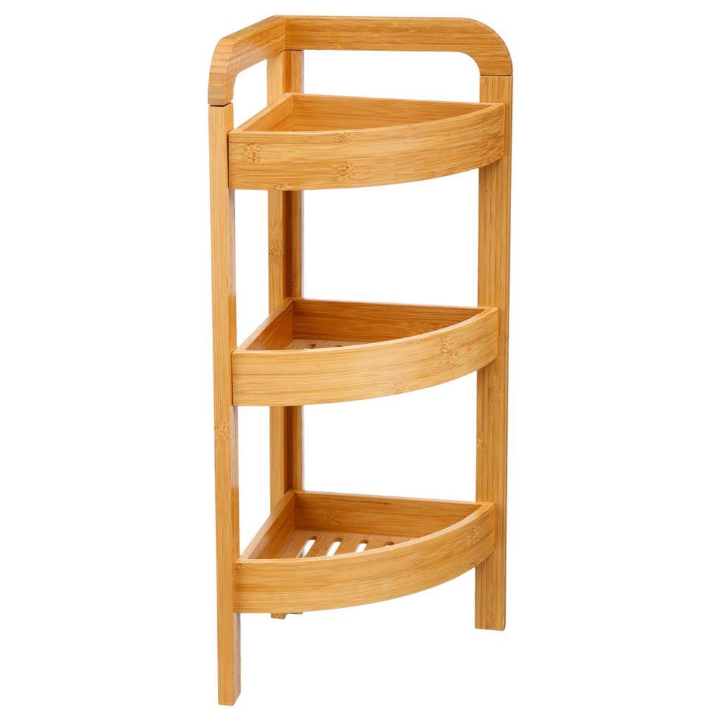Bambusregal mit 20 Ablagen für das Badezimmer, Bambusmöbel, Badmöbel