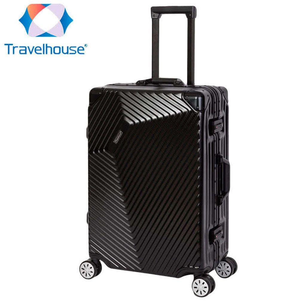 Travelhouse London Reise Koffer Trolley S-55 /& L-75cm Set Alurahmen Farbe Grau