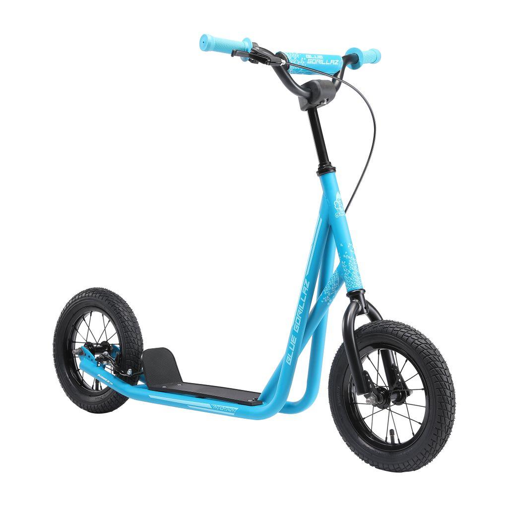 12 Zoll Scooter mit Luftreifen BLUE GORILLAZ Roller Kinderroller Tretroller Kickscooter f/ür Jungen M/ädchen ab 6-7 Jahre