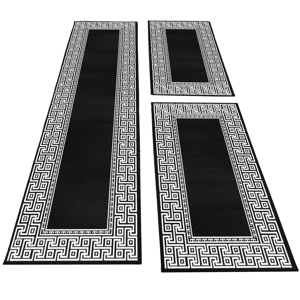 Bettumrandung Läufer Teppich mäander optik bordüre Muster 8 Teilig Schwarz  Grau, FarbeSchwarz, Bettset8 mal 8x8 cm + 8 mal 8x8 cm