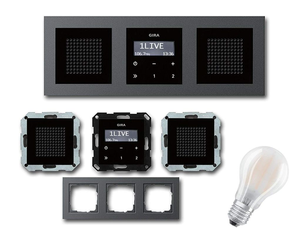 GIRA Unterputz UP RDS Radio 2000 KomplettSet schwarz glas + 200 x  Lautsprecher schwarzglas + 200 fach Rahmen E200 anthrazit + Gratis E2007 LED  Leuchte ...