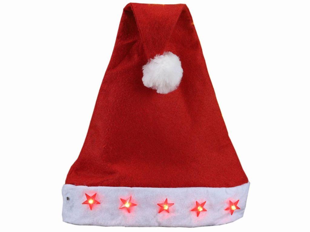 Weihnachtsmütze mit LED Sternen Nikolaus Mütze Weihnachtsmarkt Weihnachtsmützen