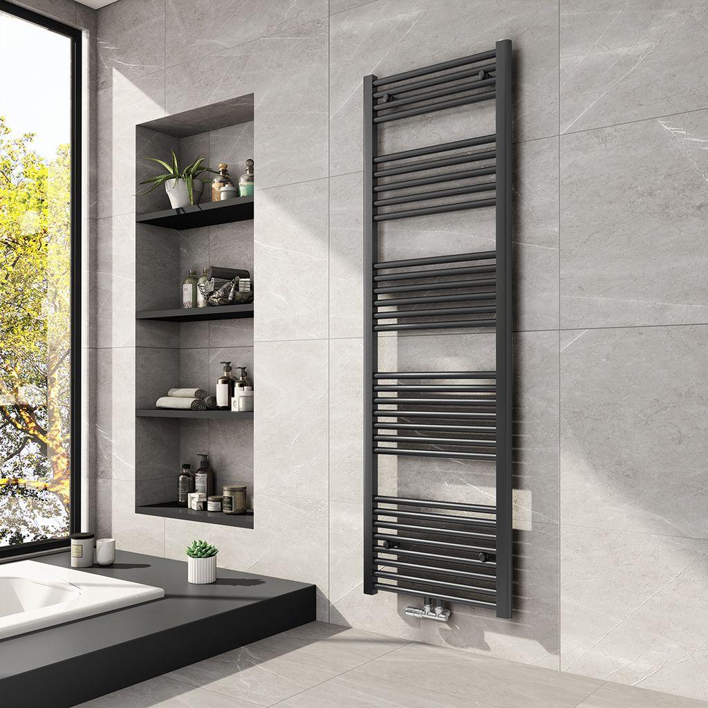 Meykoers Badheizkörper 20x20x20mm Mittelanschluss 20 Watt Anthrazit,  Handtuchtrockner Handtuchwärmer Design Heizkörper für Bad Heizung Radiator