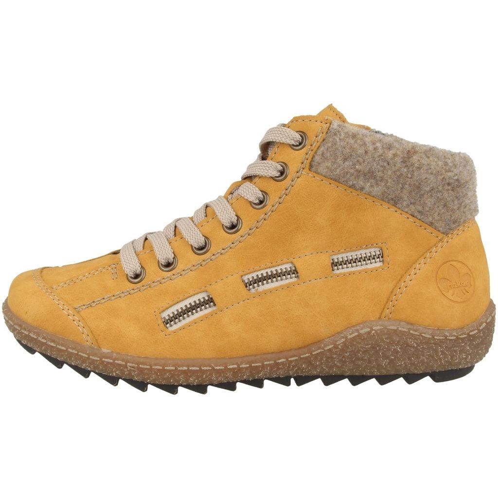 Rieker Damen  Winter Stiefel Boots Stiefelette warm Schnürer beige