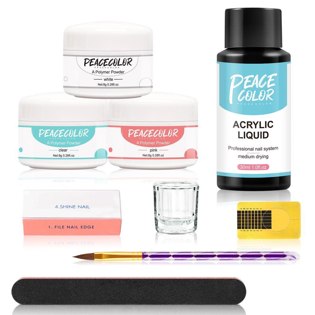 Acryl nagelset pulver set UV Nagel Gellack Nail Art Nageldesign Nail polish  Kits 25ML Acrylflüssigkeit professionelle Nageldesign für Nagelstudio oder  ...