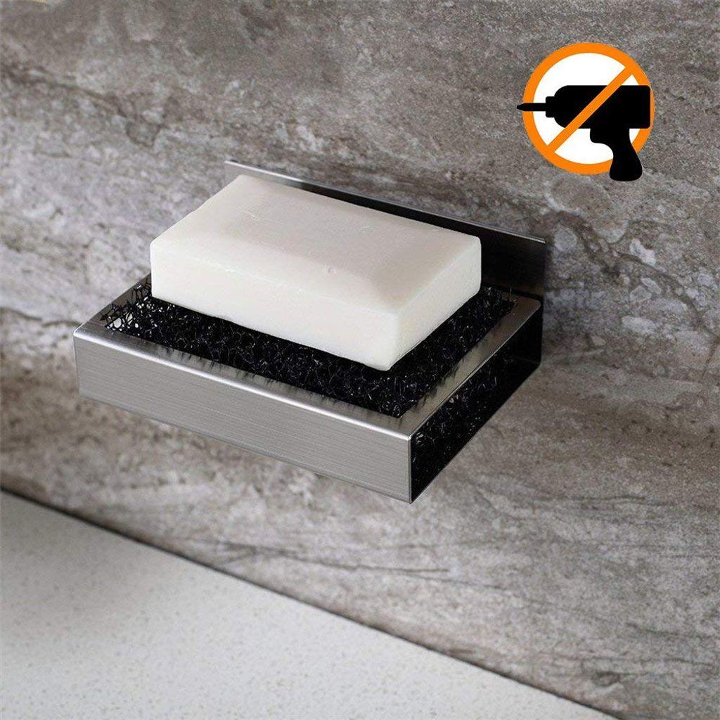 Seifenschale Wandmontage aus Edelstahl Ohne Bohren Seifenablage Wand  Badezimmer Küche Zum Kleben