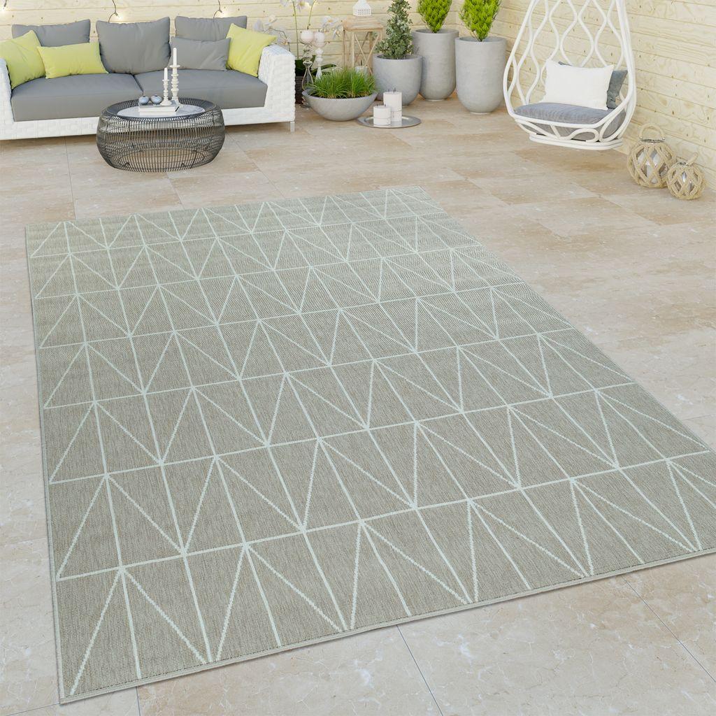 16+ In  & Outdoor Teppich Für Balkon Und Terrasse, Flachgewebe Mit Bordüre in  Beige, Grösse8x8 cm Stock