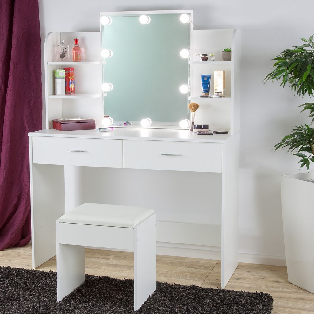 Schminktisch Kosmetiktisch Frisiertisch LED-Beleuchtung Spiegel Weiß mit Hocker