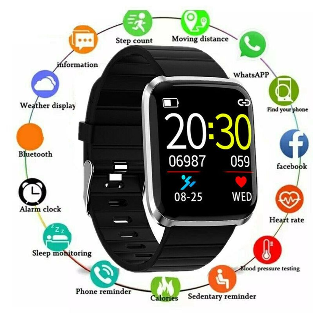 Damen Smartwatch Bluetooth Smart Armband Fitness Tracker Blutdruck Pulsuhr IP67