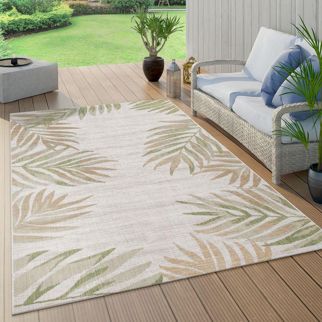 23+ In  & Outdoorteppich Beige Grün Balkon Terrasse Palmen Blätter Muster  Robust, Grösse8x8 cm Fotos