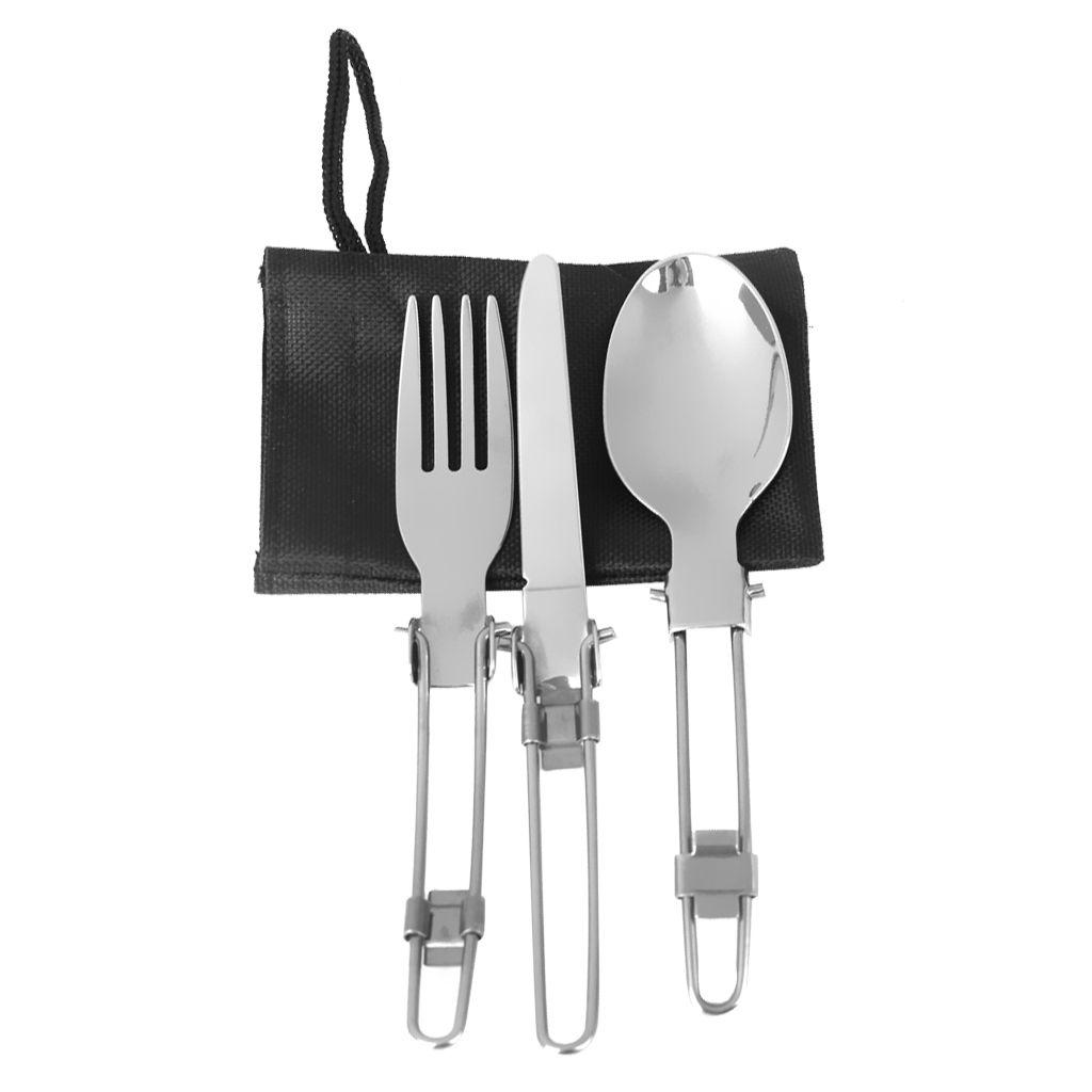 Campingbesteck Metall Löffel Gabel Messer Reisebesteck Set mit Faltbar Griff