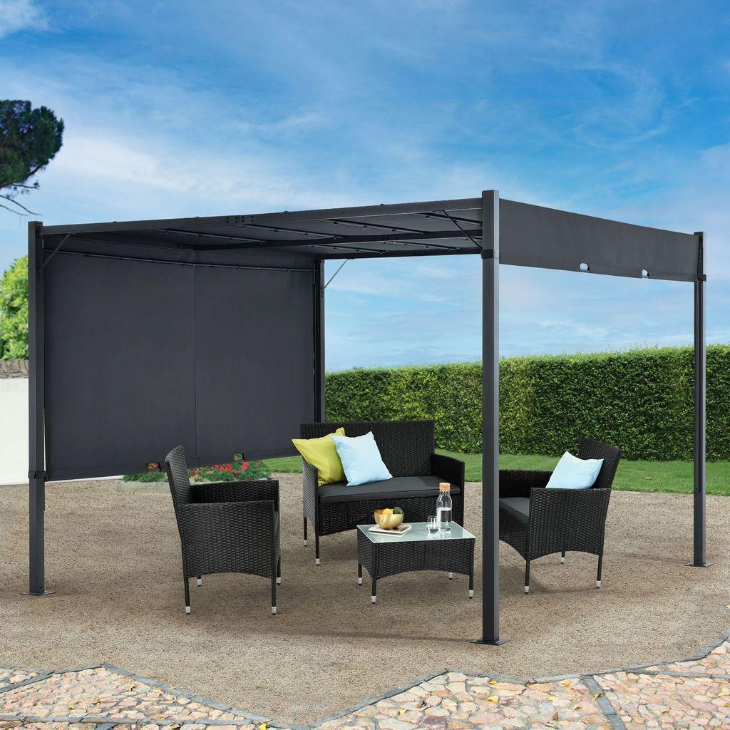 Juskys Pavillon CAVO PRO 20x20 m – Outdoor Pergola wasserabweisend mit LED  Beleuchtung, variables Dach – Sonnenschutz für Garten & Terrasse   Grau