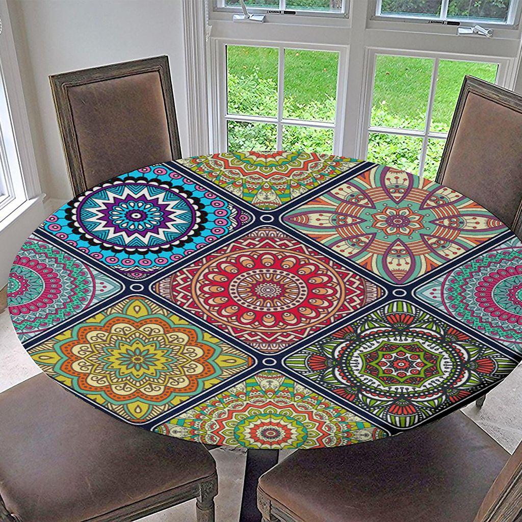 Retro Tischdecke Gartentischdecke Rundtischdecke,Elastisch für Rund//Oval Tisch