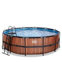 EXIT Wood Pool ø450x122cm mit Filterpumpe - braun