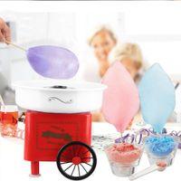 JEOBEST Zuckerwattemaschine | kleine Warenkorb Mini Zuckerwatte-Maschin | Retro  Rot 500W
