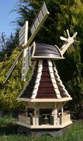 Windmühle aus Holz mit Solarbeleuchtung braun Typ 1