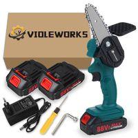 AUDEW 88V 800W Akku Kettensäge Motorkettensäge Motorsäge Einhandsäge ink.2 Batterien und Ladegerät