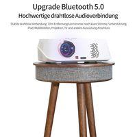 MEIYOU  Beistelltisch Bluetooth-Lautsprecher, tragbarer Runder Couchtisch aus Holz mit drahtlosen Lautsprechern und USB-Ladeanschlüssen