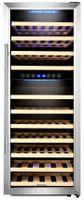 Kalamera Weinkühlschrank Freistehend,73 Flaschen 200 Liter,Kompressor,2 Zonen,LED-Display,Edelstahl Glastür,KRC-73BSS