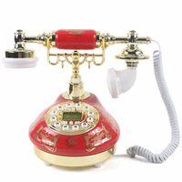 Retro Keramik Festnetztelefon Vintage Antik-Telefon Rot Display Haustelefon Deko Nostalgie Tischdeko