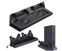 Vertikaler Ständer mit Lüfter für PS4,2-Controller Ladestation 2-Lüfter-Kühlstation mit Zwei Ladegeräten