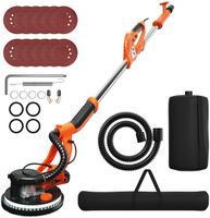 COSTWAY Trockenbauschleifer, Deckenschleifer Staubsammelsystem, Wandschleifmaschine / 750W / ?225mm / inkl. 12 Schleifscheiben/LED-Licht / 800-1750 U/min Orange