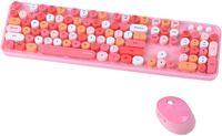 Kabelloses Tastatur- und Maus-Set, 2,4 G USB Ergonomische Tastatur, Retro-Schreibmaschinen-Tastenkappen für Computer, Laptop, Desktops, PC, Mac, Rot