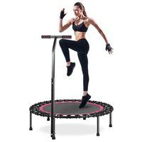 HOMEOW Klein Trampolin Fitness Jumping Trampolin Rosa Drinnen mit T-Stange Leise 100cm Mini-Fitness-Trampolin Indoor mit verstellbarem Haltegriff Anti-Rutsch-Fußpolster Nutzergewicht bis 200kg