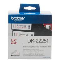 Brother PT Etiketten DK22251  rot/schwarz auf weiss  62mm x 15,24m  Rolle