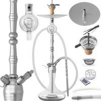 DILAW® Shisha MANYAK 93cm Komplettset Aluminium Alu Wasserpfeife Hookah, Farbe:Silber