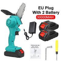 MECO 800W 88V Elektrische Akku Kettensäge Holzfäller Mini Einhandsäge Holzbearbeitung mit 2x Batterie EU-Stecker Grün