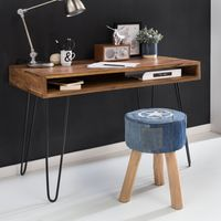 Massiver Schreibtisch HARLEM Sheesham Massiv Holz 110 x 60 x 76 cm mit Ablage   Computertisch Massivholz mit Metall Beinen   Design Holz PC Tisch