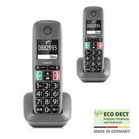 Gigaset EASY DUO – 2 schnurlose Senioren-Telefone mit großen Tasten und extra lauter Klingelfunktion – hörgerätekompatibel, anthrazit-grau